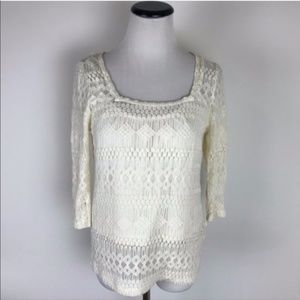 Lucky Brand Cream Lace Long Sleeve Top